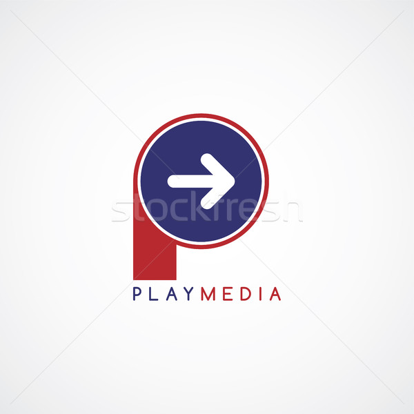 arrow media play icon theme logotype Stock photo © vector1st
