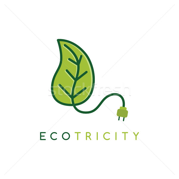 Eco energy symbol icon logo logotype template - ecology friendly electricity Stock photo © vector1st