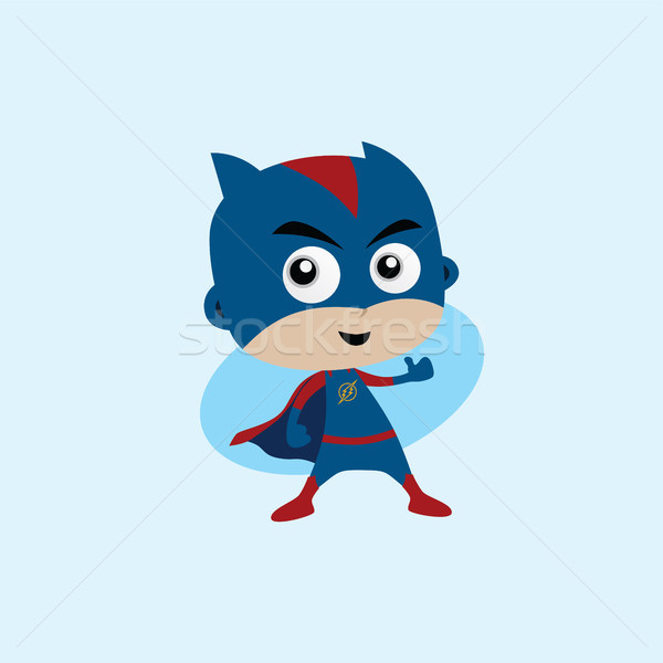 Adorable and amazing cartoon superhero in classic pose Stock photo © vector1st