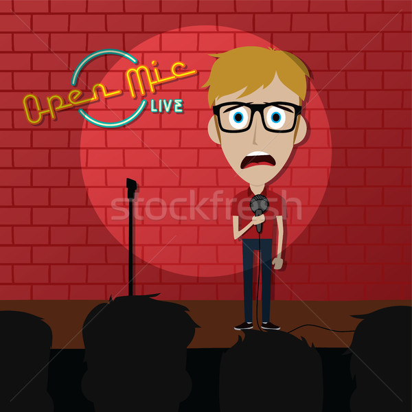 stand up comedy comic guy on stage Stock photo © vector1st