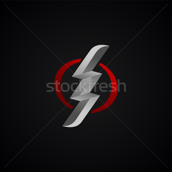 Piros ezüst villám vihar felirat vektor Stock fotó © vector1st