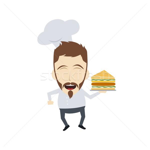 Mester szakács rajz rajzfilmfigura vektor művészet Stock fotó © vector1st