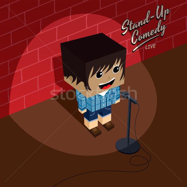Stand omhoog komedie isometrische cartoon meisje Stockfoto © vector1st