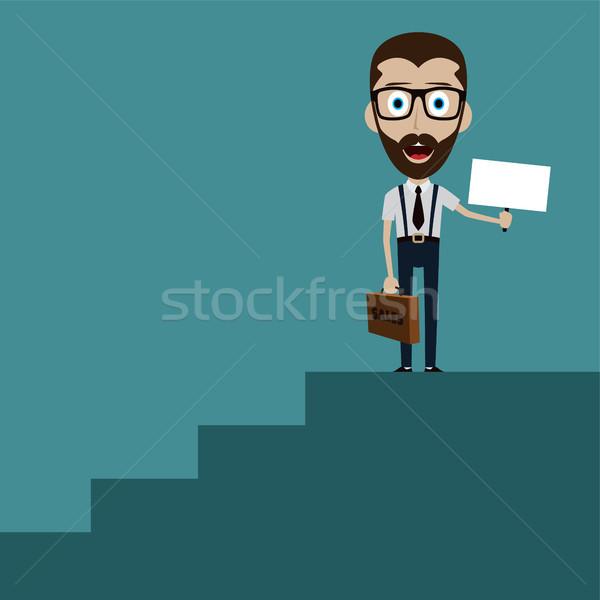 Zakenman zwart pak koffer klimmen trap succes Stockfoto © vector1st