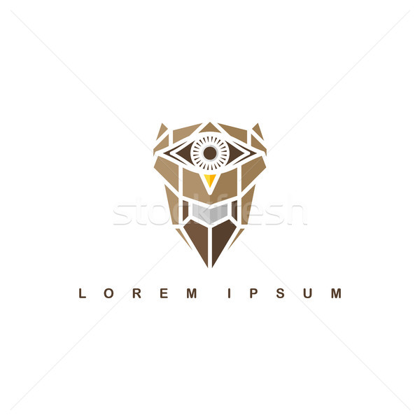 brown one eye owl logo logotype theme vector Stock photo © vector1st