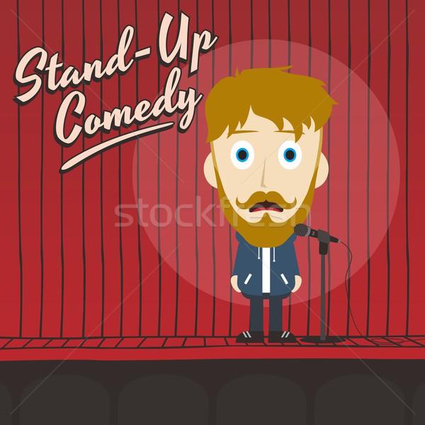 Hilarisch vent stand omhoog komiek cartoon Stockfoto © vector1st