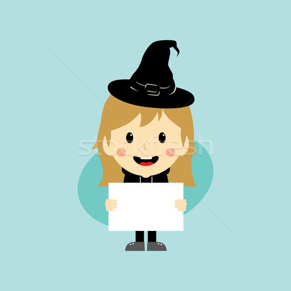 Halloween rajzfilmfigura vektor művészet illusztráció kalap Stock fotó © vector1st