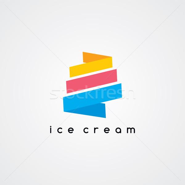 Cornet de crème glacée vecteur art illustration alimentaire Photo stock © vector1st