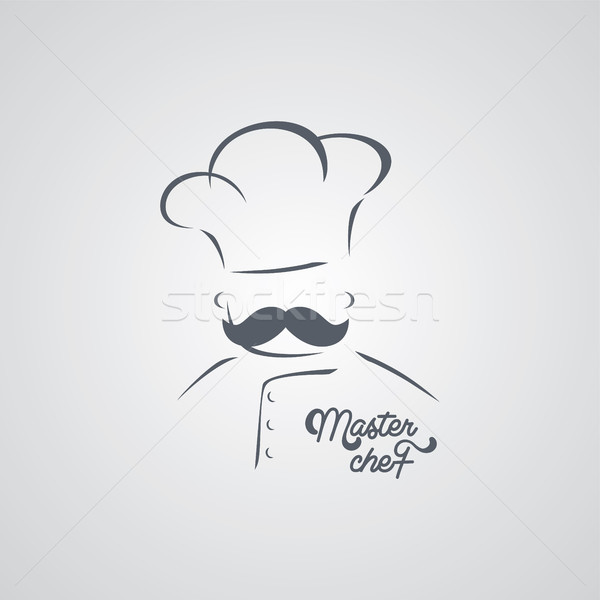 italian mustache guy master chef Stock photo © vector1st