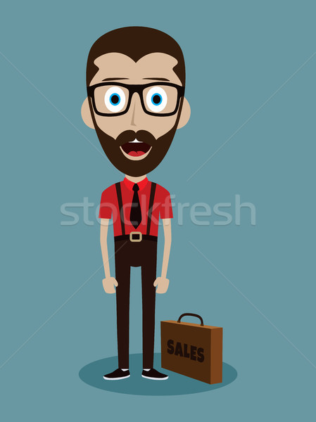 businessman office salesman guy funny cartoon character Stock photo © vector1st