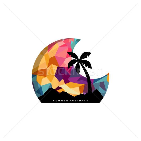 Strand tijd tropisch eiland zomervakantie vector kunst Stockfoto © vector1st