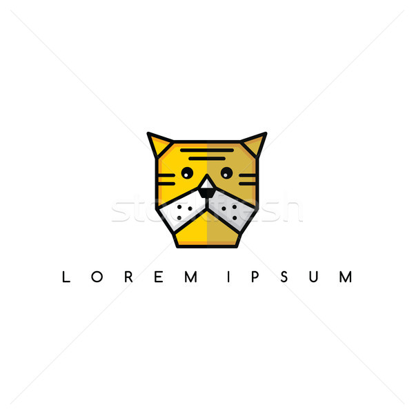 Tigru animal cap logo-ul faţă semna Imagine de stoc © vector1st