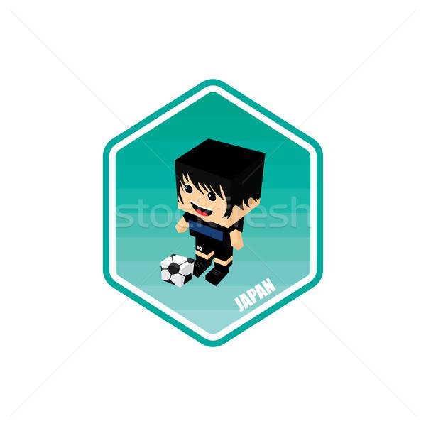 Futball izometrikus Japán vektor művészet rajz Stock fotó © vector1st