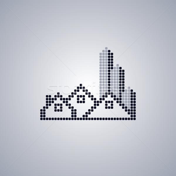 Pixel ház logo sablon vektor művészet Stock fotó © vector1st