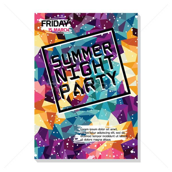 Yaz gece plaj parti poster uçan Stok fotoğraf © vector1st