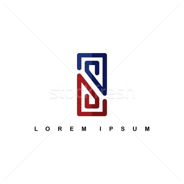 Stock photo: overlap line art template logo logotype alphabet letter s