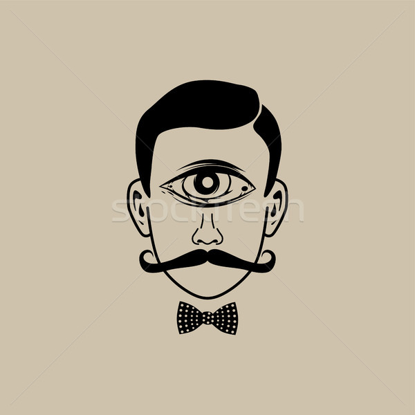 Foto stock: Olho · retro · cavalheiro · vetor