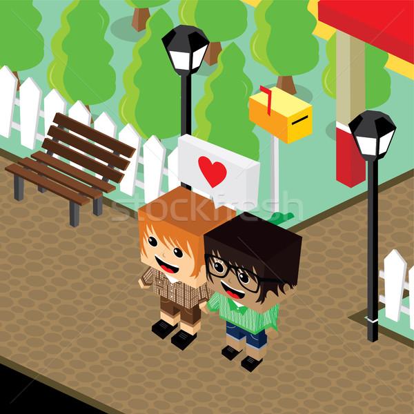 cartoon life couple lover isometric theme Stock photo © vector1st