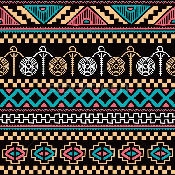 Szín őslakos kisebbségi végtelen minta vektor művészet Stock fotó © vector1st