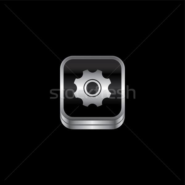Cog metal placa icono botón vector Foto stock © vector1st