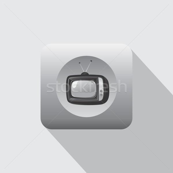 Foto stock: Televisão · ícone · velho · vetor · arte · ilustração