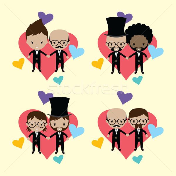 Imádnivaló homoszexuális házastárs vőlegény rajz házasság Stock fotó © vector1st