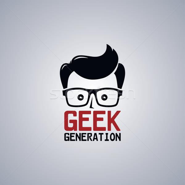Geek inek öğrenci adam bilim erkek Stok fotoğraf © vector1st