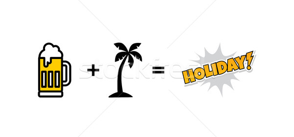 cold glass of beer beach holiday vector Stock photo © vector1st