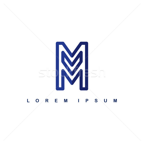 overlap line art template logo logotype alphabet letter m Stock photo © vector1st