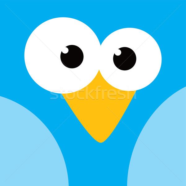 square bird face icon button Stock photo © vector1st