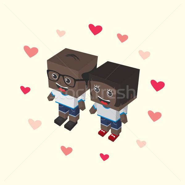Miłości para izometryczny wektora sztuki Zdjęcia stock © vector1st