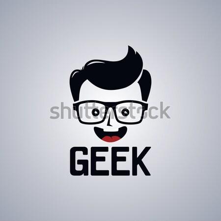Stréber fickó avatar portré vektor művészet Stock fotó © vector1st