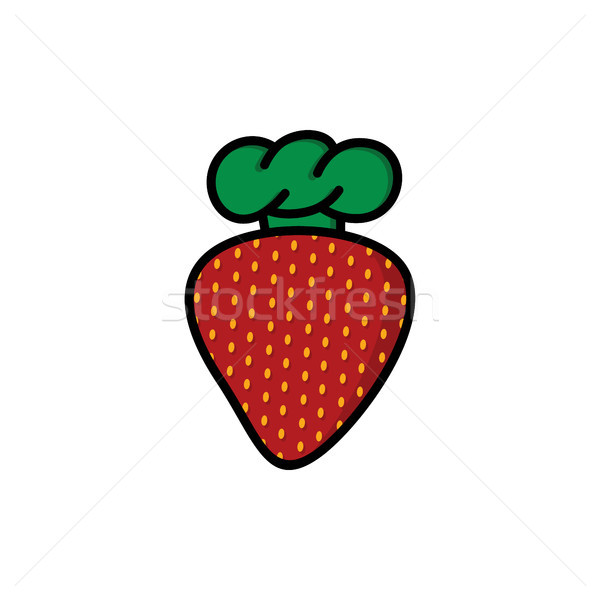 strawberry with chef hat cartoon logo logotype Stock photo © vector1st