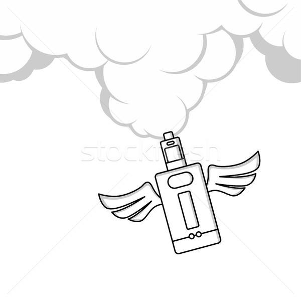 Melek kanat elektrik sigara kişisel vektör Stok fotoğraf © vector1st