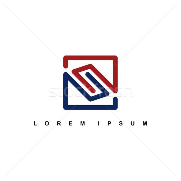 overlap line art template logo logotype alphabet letter s Stock photo © vector1st