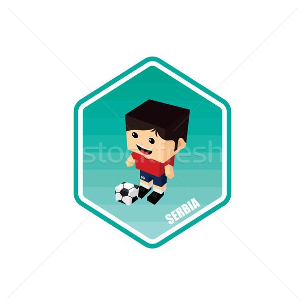 Football isométrique Serbie vecteur art cartoon Photo stock © vector1st