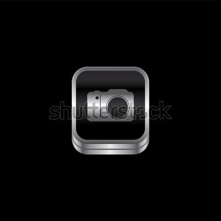 Fém tányér ikon gomb vektor művészet Stock fotó © vector1st