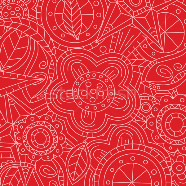red floral flower pattern doodle Stock photo © vector1st