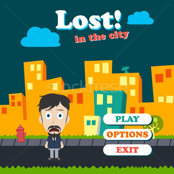 Spiel Asset funny guy Karikatur Zeichentrickfigur Stock foto © vector1st
