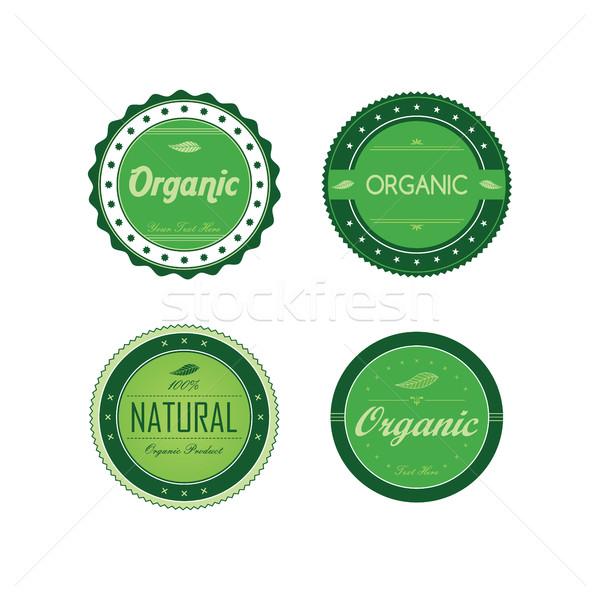 Friss környezetbarát zöld címke szett vektor Stock fotó © vector1st