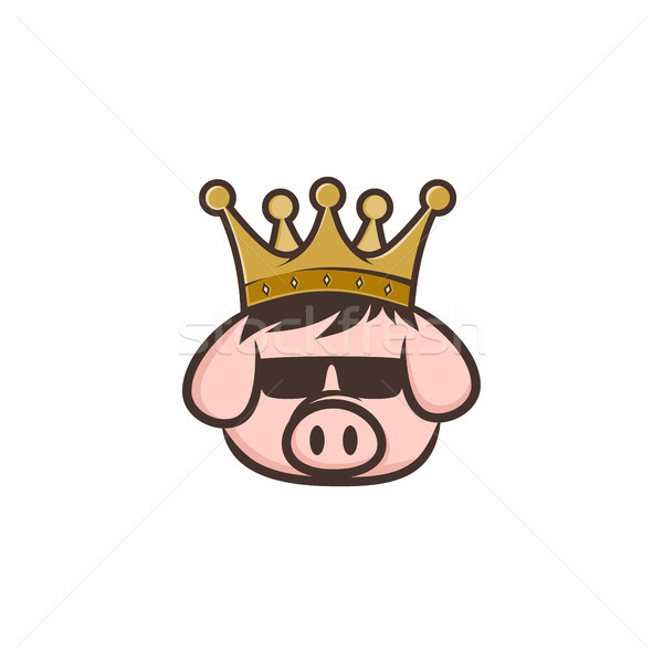 king pig crown pork bacon theme cartoon Stock photo © vector1st