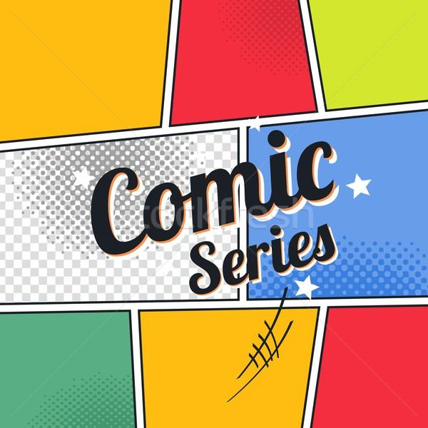 comic template element with speech bubble halftone art Stock photo © vector1st