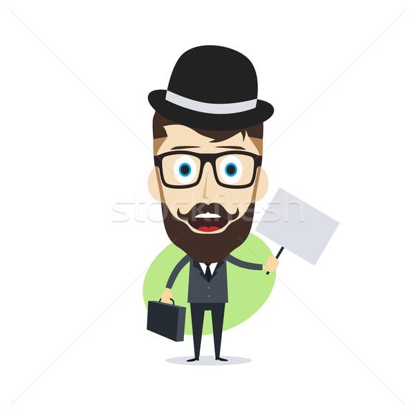 Gelukkig zakenman vector kunst illustratie Stockfoto © vector1st