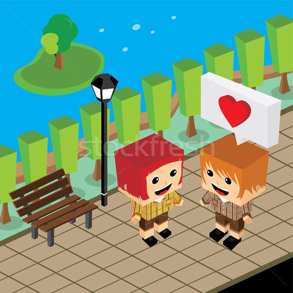 geek couple lover in romance love Stock photo © vector1st
