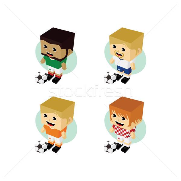 Piłkarz izometryczny cartoon zestaw wektora sztuki Zdjęcia stock © vector1st
