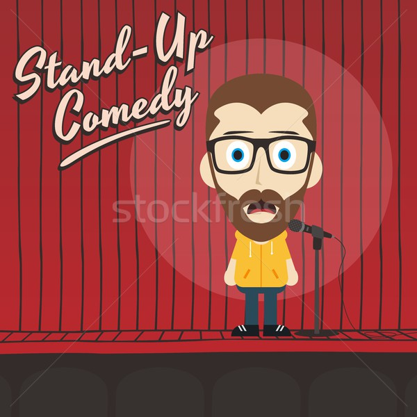 hilarious guy stand up comedian cartoon Stock photo © vector1st
