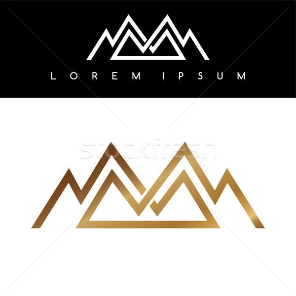 Overlapped line mountains symbol golden monochromatic sign logotypes logo Stock photo © vector1st