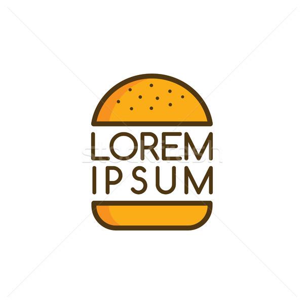 Nagy hamburger logo logotípus étel vektor Stock fotó © vector1st