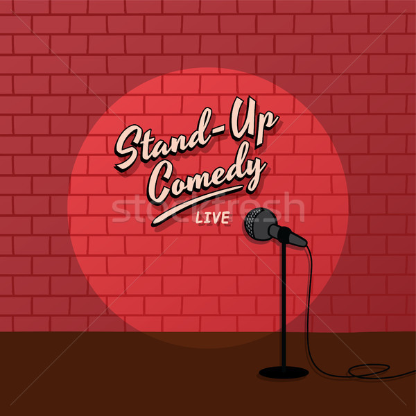 red brick spotlight stand up comedy stage Stock photo © vector1st