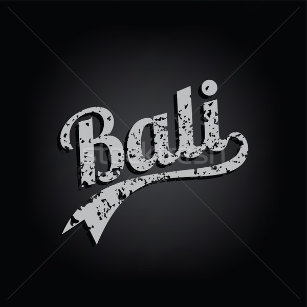 bali paradise island retro varsity text grungy vector Stock photo © vector1st